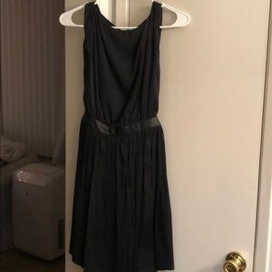Satin dress with leather belt